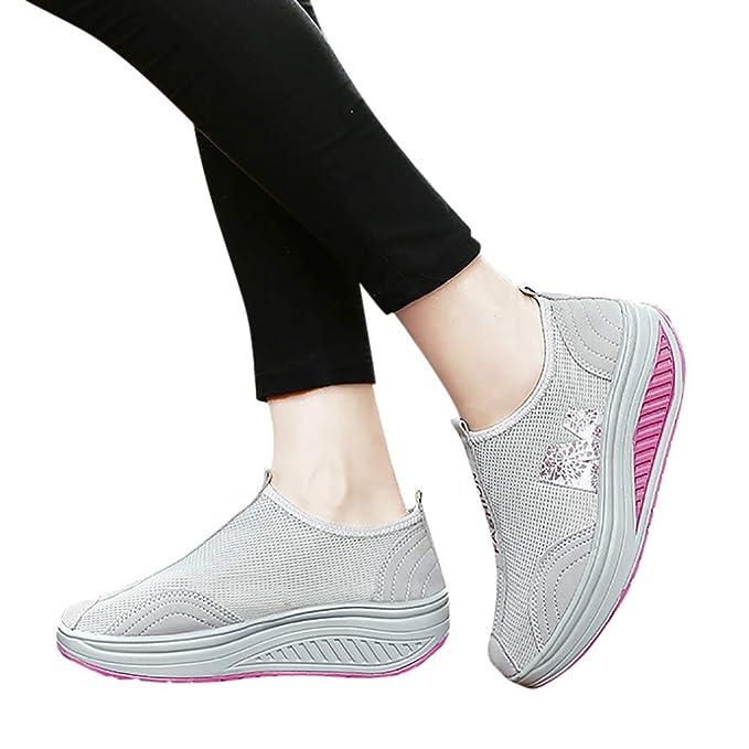 2019 Nuevo Moda Zapatillas Mujer, Zapato Deporte Con Plataforma Cuña En Suelas Cómodas Calzado Sin