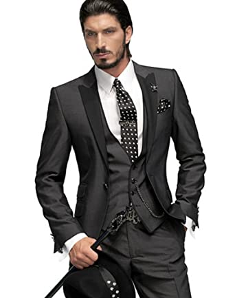Botong Dark Grey Groom Tuxedos 3 Pieces Men Suits Wedding Suits For