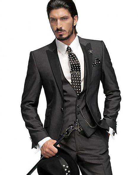 Amazon.com: botong Gris Oscuro novio tuxedos 3 piezas ...