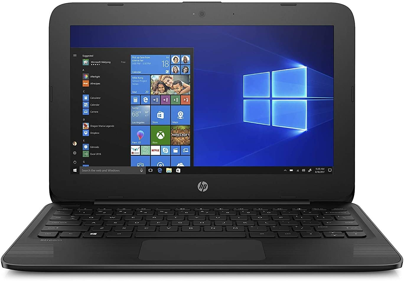 "HP Stream 11-ah117wm 11.6"" Netbook, Intel Celeron N4000, 4GB RAM, 32GB Flash Memory 4ND15UA#ABA"