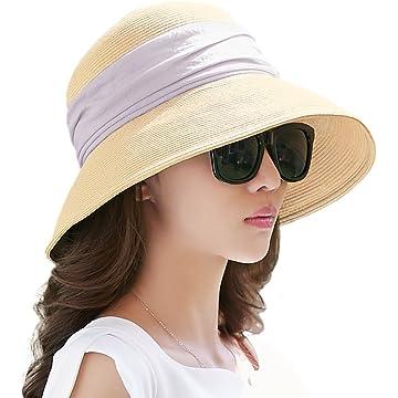 776639b0e27af Siggi Womens UPF 50+ Packable Summer Sun Straw Hat Wide Brim Foldable  Adjustable