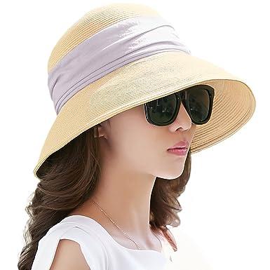 bc362ac208b5e Siggi Womens Foldable Straw Cloche Panama Floppy Summer Beach Sun Hat Wide  Brim Beige  Amazon.co.uk  Clothing