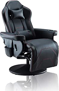 LUMISOL Gaming Recliner Chair with Ottoman, Adjustable Headrest and Lumbar Support, Racing Style Leather Reclining Office Chair (Black)