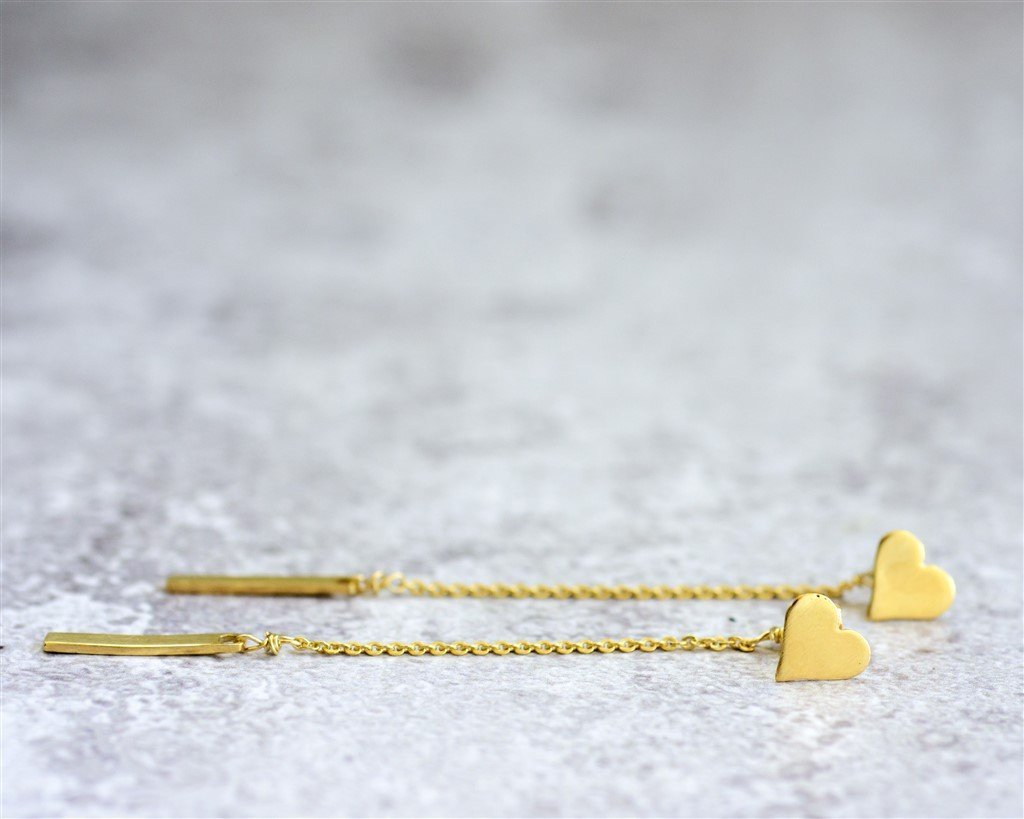 Handmade Designer 14K Gold Plated Front and Back Double Sided Earrings with a Heart Stud and a Long Dangle Bar Ear jacket Earrings