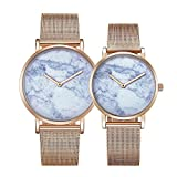 6812 Round Dial Alloy Gold Case Fashion Couple Watch Men & Women Lover Quartz Watches With Stainless Steel Band (SKU : Wa0721c)