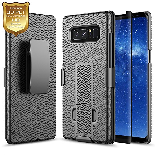 Galaxy Note 8 Case with [Full Coverage 3D PET HD Screen Protector],NageBee Combo Shell & Holster Case Super Slim Case w/Built-in Kickstand [Swivel Belt Clip] for Samsung Galaxy Note 8 -Black