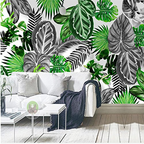 300cmX210cm Nordic simple black and white tropical plants turtle leaf background wall custom large fresco silk silk wallpaper,300cmX210cm