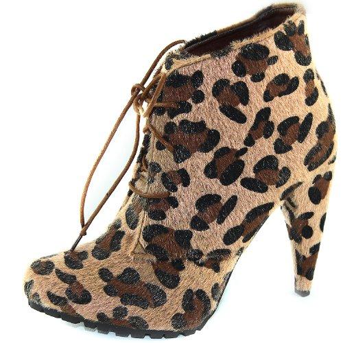 Le Donne Multi-colore Stivaletti Alla Caviglia Tacchi A Spillo Grosso Tacco Alto Lace Up Pompa Piattaforma Moda Scarpe Leopardo