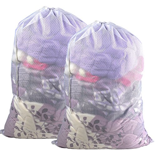 2 PCS Mesh Laundry Bags-24x 36,Heavy Duty Drawstring Bags, White Large Laundry Liners Double Mesh Material, Ideal Machine Washable Storage Bags for College, Apartment Dweller (24x 36 2 PCS)