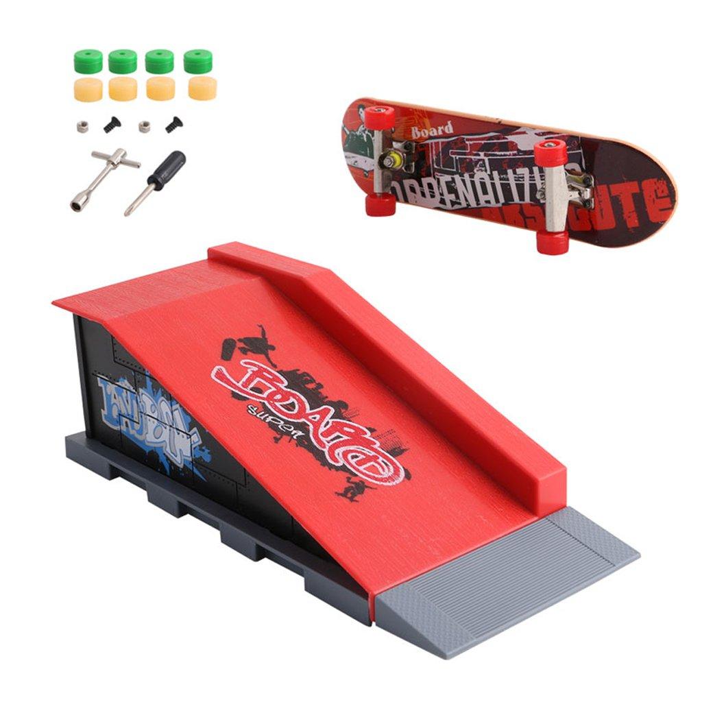 EA-STONE 1Set Skate Park Ramp Parts for Tech Deck Fingerboard, Mini Finger Skateboard Fingerboards Ultimate Parks Kids Adult Toy (B)