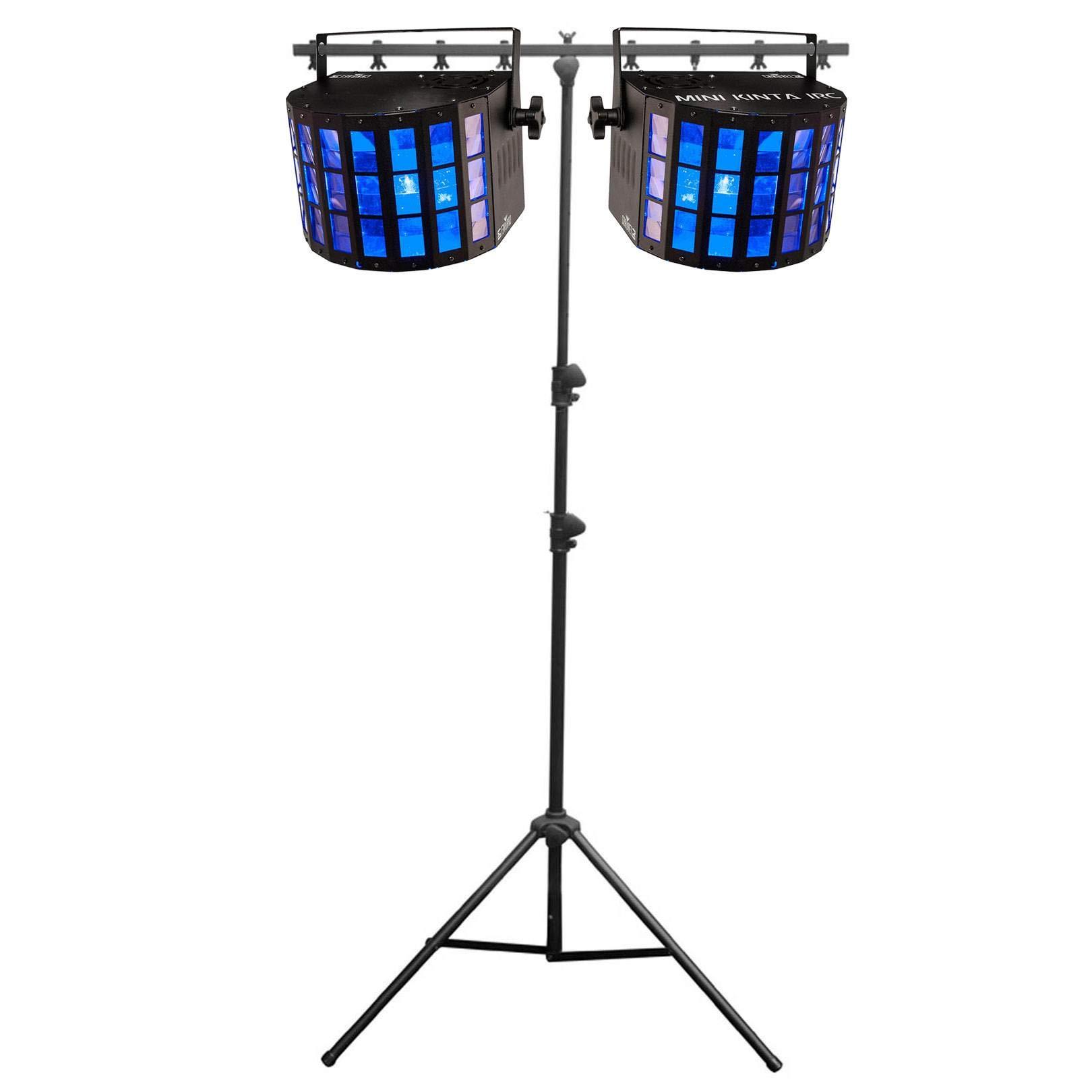 Chauvet DJ Mini Kinta IRC LED RGBW DMX Lights (2 Pack) + Portable Tripod Stand by CHAUVET DJ