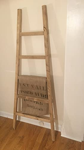 Rustic Ladder 60quot Distressed Blanket Quilt Rack Leaning Pot