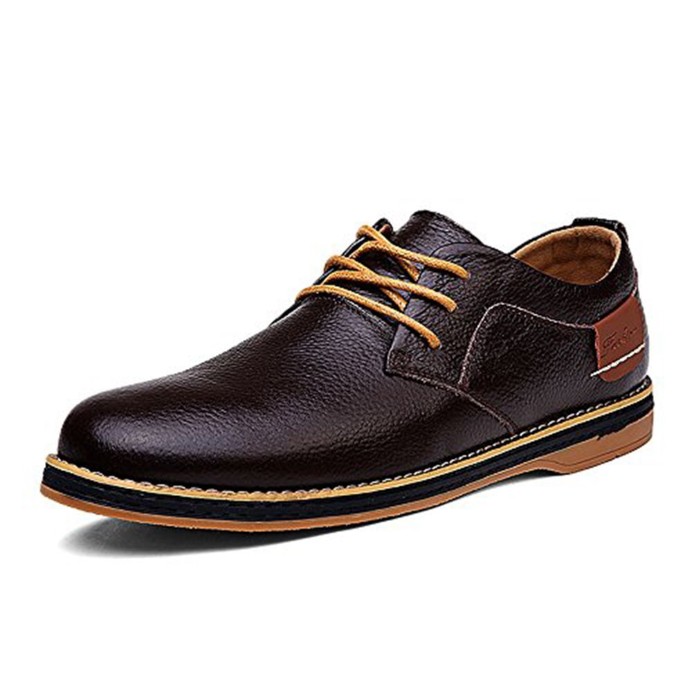 YZHYXS Men's Dress Shoes Black Brown Genuine Cow Leather Oxfords Business Casual Shoes (1611-brown-45)