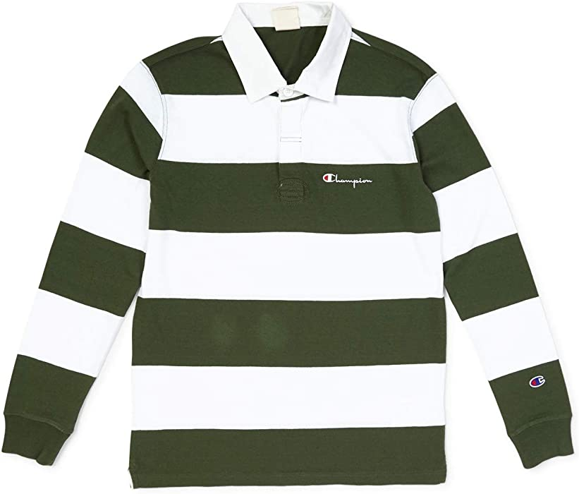 b869dca8 Champion Long Sleeve Polo T-Shirt - Green - L. Back. Double-tap to zoom