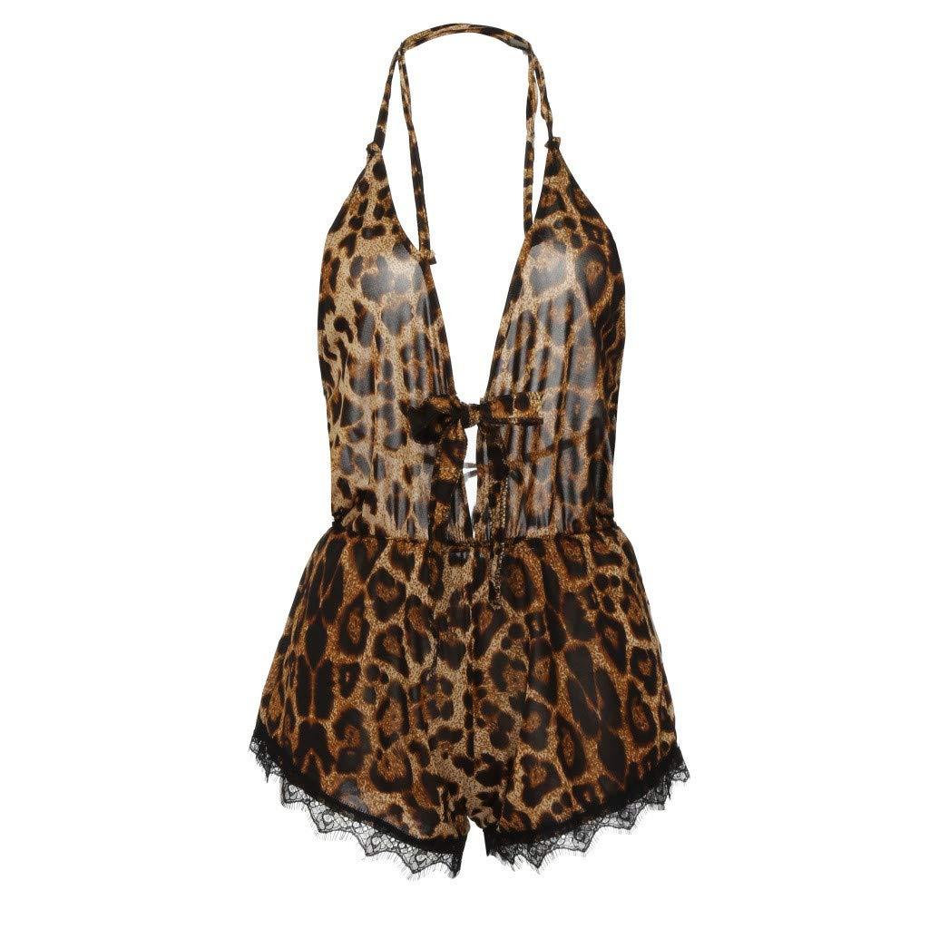 Women Sexy Lingerie-Deep V Neck Backless Halter Bow Lace Trim Leopard Romper Bodysuit Underwear (XL, Brown)
