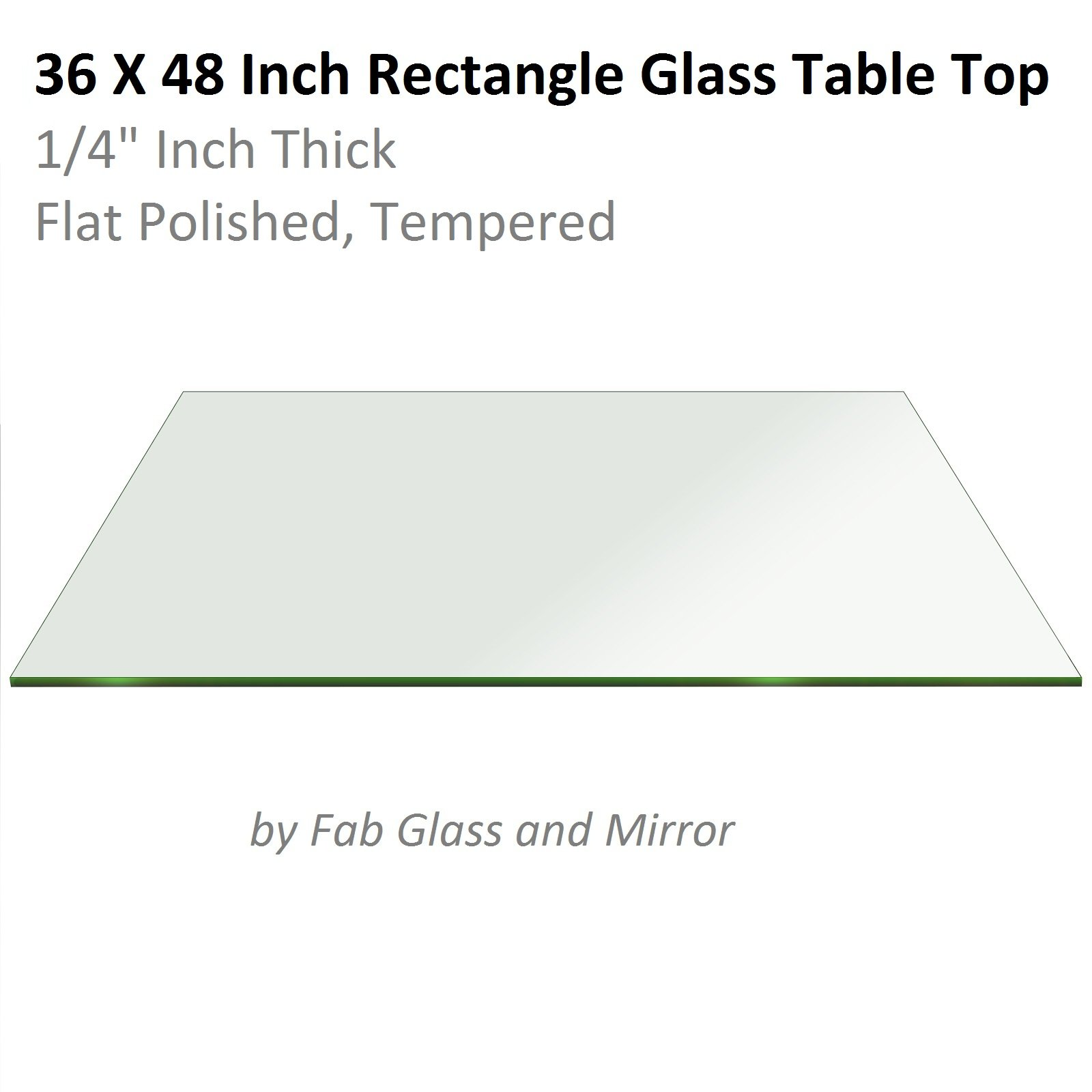 Fab Glass and Mirror 1/4'' Thick Flat Edge Tempered Eased Corners Rectangle Glass Table Top, 24'' X 48''