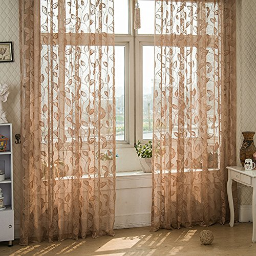 dezirZJjx Window Curtains, Sheer Curtain Warp Knitting Leaf Pattern Tulle Window Curtain Sheer Divider for Living Room - Light Coffee (Leaf Knitting Pattern)