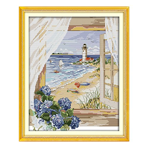 Seascape Outside the Window Cross Stitch - SODIAL(R) Seascape Outside the Window Counted Cross Stitch Cross Stitch Set landscape Cross-stitch Kits Embroidery Needlework£¨14CT£