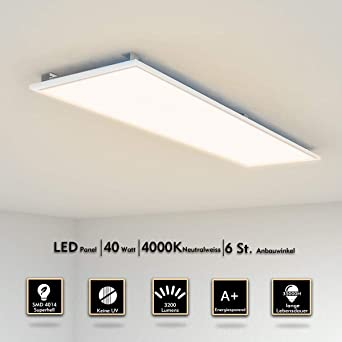 LED Panel Deckenleuchte 120x30cm Neutralweiss 4000K Ultraslim 40W inkl.  Trafo und Befestigungsmaterial für Büroräume, Flure, Küche, Badezimmer, ...