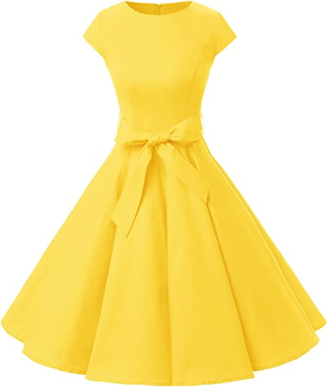 TALLA M. Dressystar Vintage 1950s Polka Dot and Solid Color Prom Dresses Cap-Sleeve Yellow M