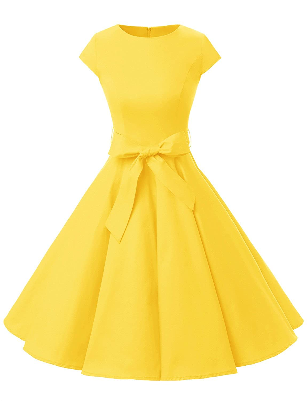 TALLA M. Dressystar Vestidos Coctel Corto Vintage 50s 60s Manga Corta Rockabilly Elegante Mujer Yellow