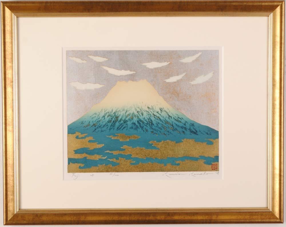 富士山 絵画 青富士 和風 木版画 金子邦生 「Fuji 25」 額付き   B07QCFNHSY