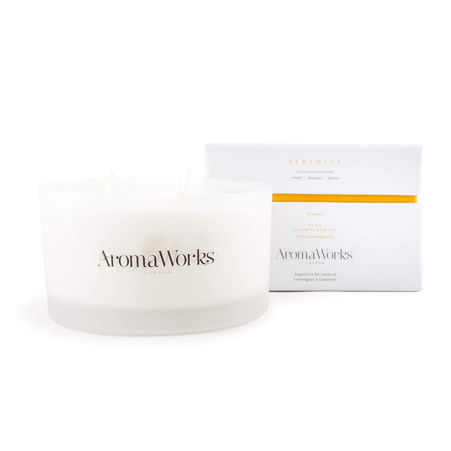 AromaWorks Serenity 3 Wick Soy Wax Candle - Lemongrass, Neroli and Sweet Geranium Aromas - Uplift, Balance & Focus - Natural, Vegan, Cruelty Free - Large 14.1oz