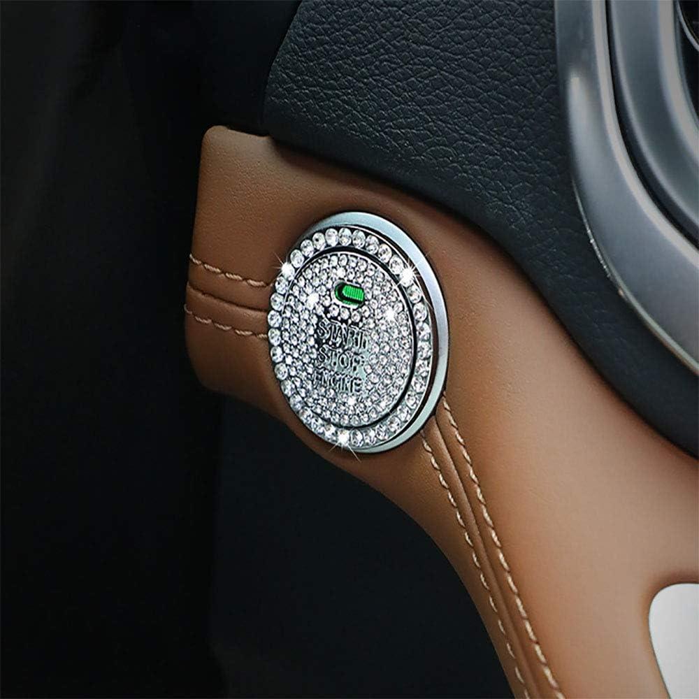 Car Interior Decoration Emblem Sticker, Bling Car Crystal Rhinestone Ring Accessories for Women,Push to Start Button, Key Ignition Starter & Knob Ring, Interior Glam Car Decor Accessory-Silver Set