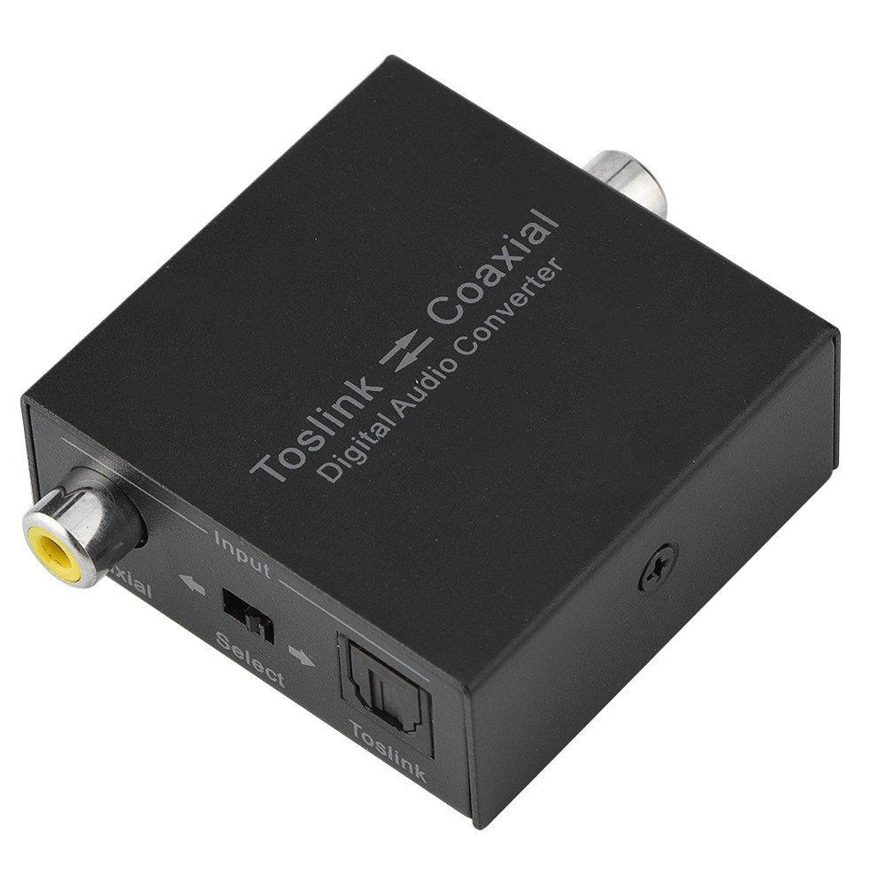 Eboxer Fiber Coaxial Intercom 2-way Digital Toslink Audio Converter SPDIF Audio Input Splitter Adapter