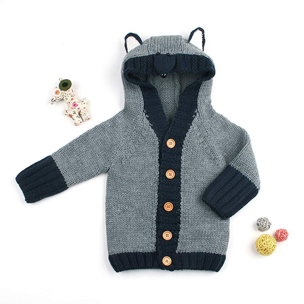Londony /♥‿◕ Clearance Sales,Toddler Baby Sweater Hooded Fox Knitted Tops Boys Girls Kids Warm Button Outwear Coat
