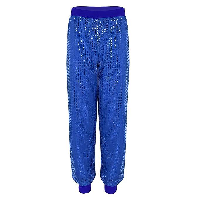 iiniim Pantalones Brillo Chico Chica Unisex Mujer Hombre Pantalón Brillante  con Lentejuelas Alta Elástico Hip Hop Traje de Baile Daznza Fiesta Shinny  ... e2c7028567c