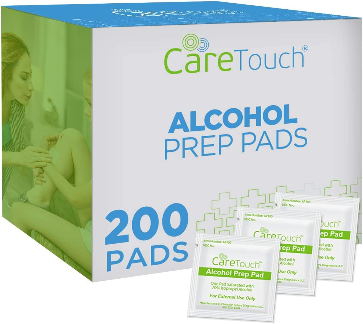 Care Touch Sterile Alcohol Prep Pads, Medium 2-Ply - 200 Alcohol Wipes