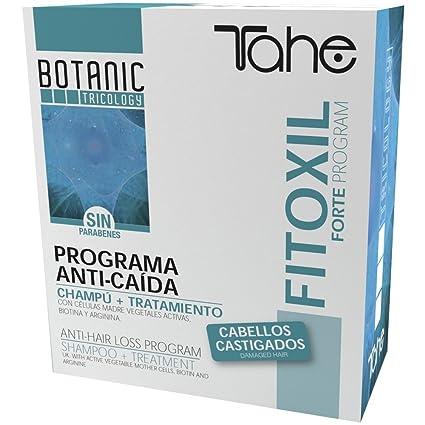 Tahe Fitoxil Pack Anticaída: Ampollas de Tratamiento para Caída del Cabello Cabellos Castigados 5 x 10 ml + Champú Efecto Reforzado 300 ml
