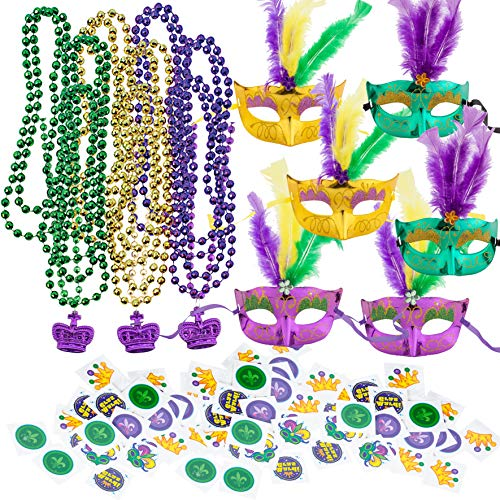 JOYIN Mardi Gras Party Supplies with 18 Beads Beaded Necklace, 6 Masks, 72 Temporary Tattoos, 6 Pendants Mardi Gras Party Favors Set