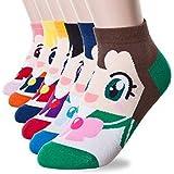 Zabrina 6 Pairs Sailor Moon Women's Cute Cartoon Anime Character Pattern Socks