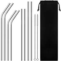 Set of 8 Reusable Portable Drinking Stainless Steel Straws for 30oz / 20oz Tumblers with 2 Cleaning Brushes and Velvet…