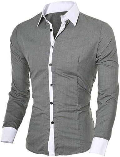 LMMVP Camisa de Hombre Moda Personalidad Manga Larga Ajustado Clásico Básica Botón Formal Casual Camiseta para Hombre Tops para Hombre Blusa para Hombre: Amazon.es: Ropa y accesorios