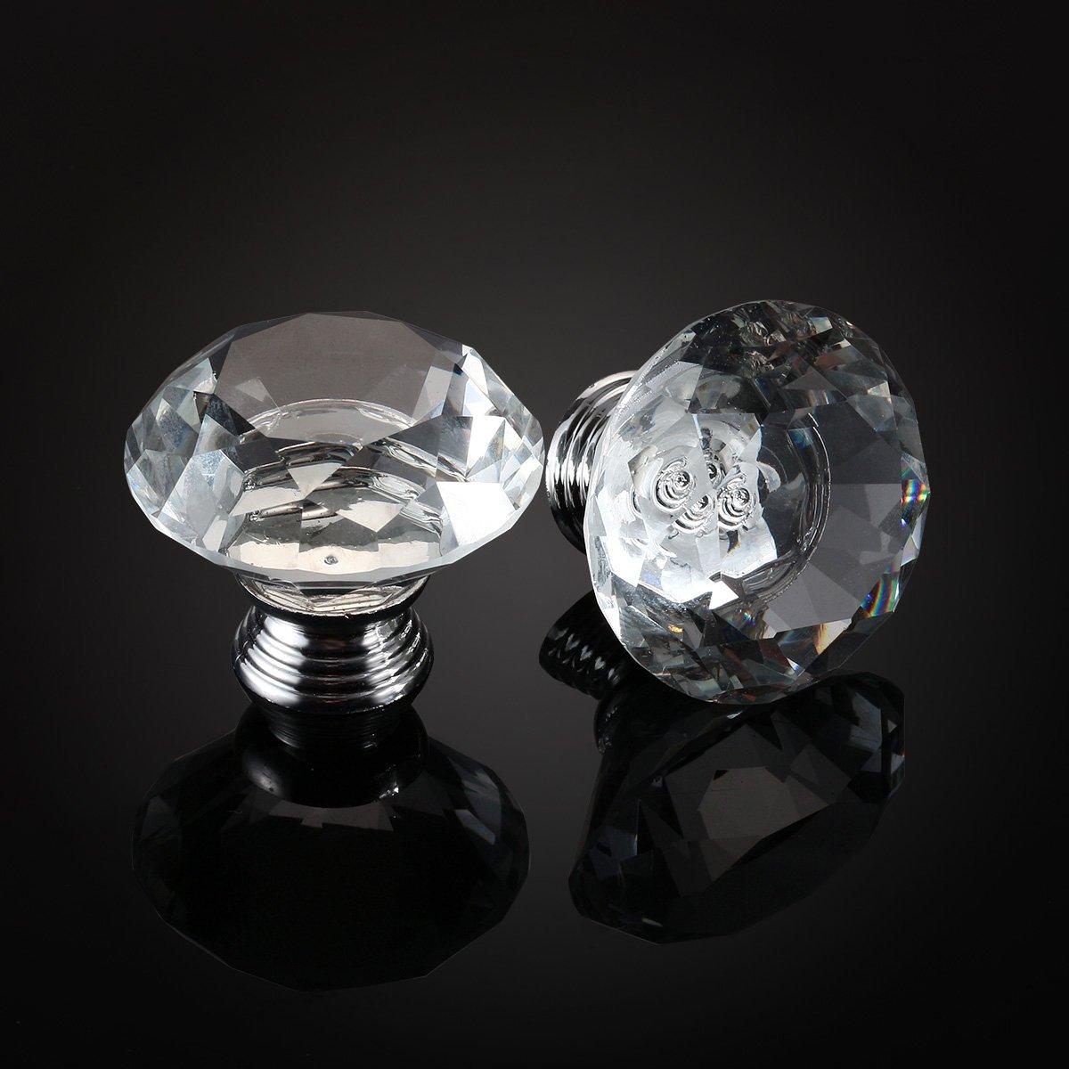 10pcs 40mm Crystal Glass Diamo...