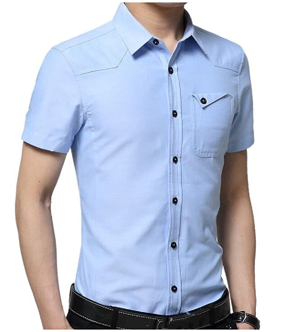 YUNY Men Casual Solid Pocket Turn-Down Collar Short Sleeve Shirts Light Blue 2XL