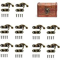 50 sets antieke bronzen toon rechts vergrendeling haak met schroeven, doe-het-zelf zakhouder, houten sieradendoos…