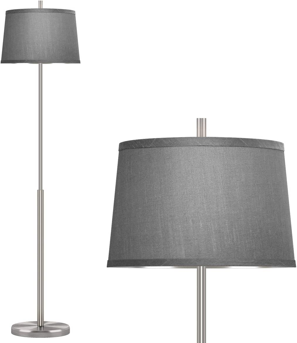 Oneach Modern Floor Lamp for Living Room 62'H Contemporary Standing Light for Bedrooms Office Minimalist Metal Silver Floor Lamp for Home Brushed Steel