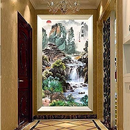AIGUFENG versión vertical de la entrada hecha a mano en punto de cruz acabado pintura paisaje