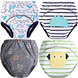 MOM & BAB Toddler Training Pants/Underwear. Water-resistent|Best Quality|Machine Washable & Reuable|Cutest Designs|Soft Cotton|Comfortable Fit|3 layers (Large, Dinosaur & Robot)