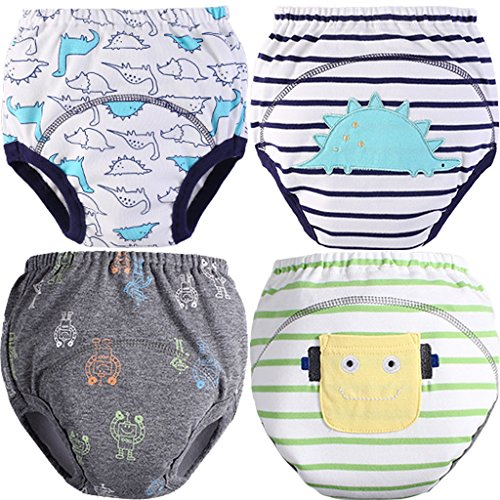 MOM & BAB Toddler Training Pants/Underwear. Water-resistent Best Quality Machine Washable & Reuable Cutest Designs Soft Cotton Comfortable Fit 3 layers (Small, Dinosaur & Robot)
