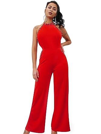9d38cd30876 Glamaker Women s Sexy Backless Halter Neck High Waist Wide Leg Long Pants Jumpsuit  Red Large