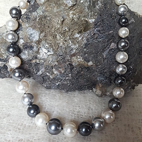 20 inch Gray and White Multi color Pearl Necklace Hand Knotted graduated 10 to 16mm Simulated Swarovski Pearls by Nature Inspired Living Made in the USA (Mikimoto Tahitian Pearls)