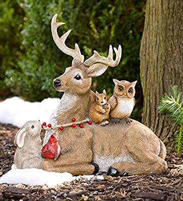 Wind & Weather HD8698 Buck and Friends Outdoor Statue, Brown