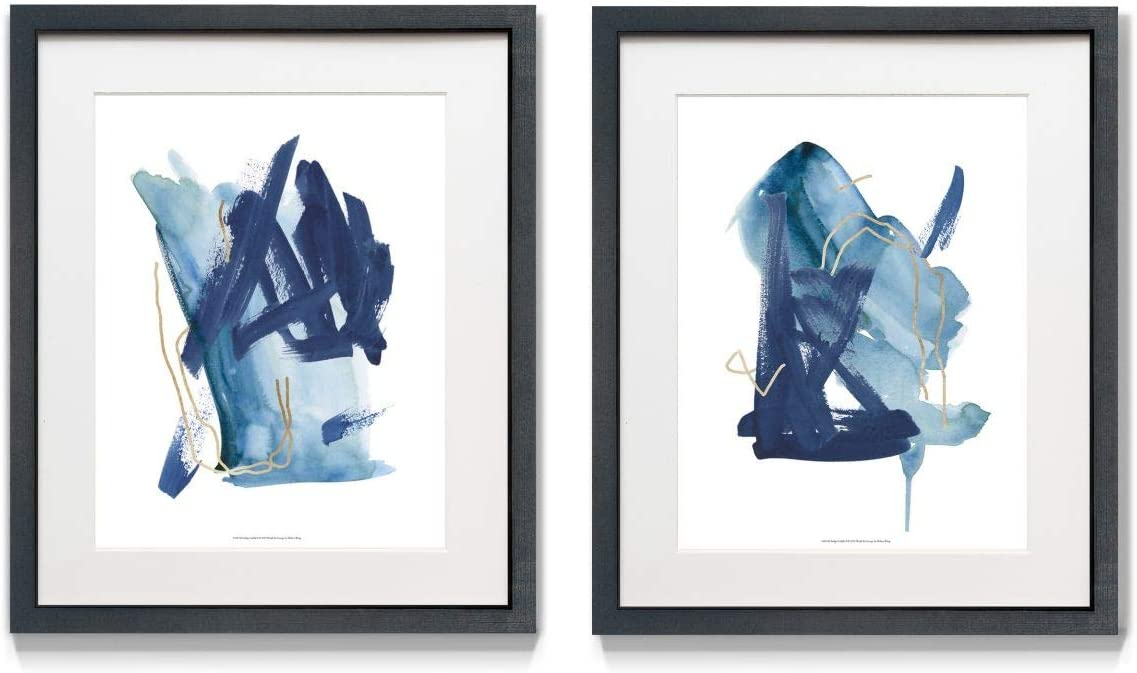 Framed 2 Piece Wall Art, Abstract, Geometric, Rustic, Romantic, Modern, Contemporary, Ready to Hang 16x20 -Indigo Collide