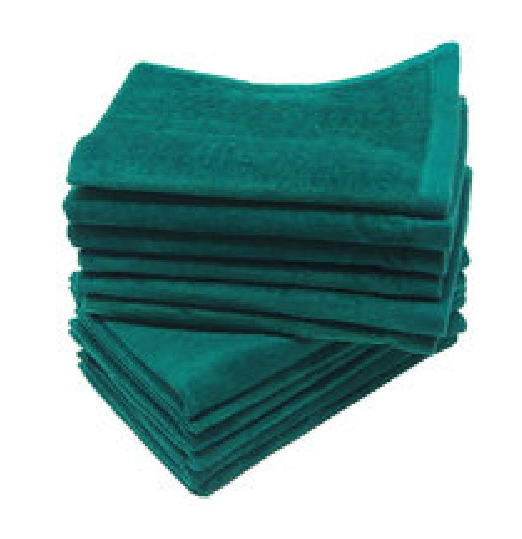 SHOPINUSA Budget Deal ! Great Value Towels, Deluxe Hemmed Fingertip Velour Towel 11in x 18in, 100% Cotton (240, Green)