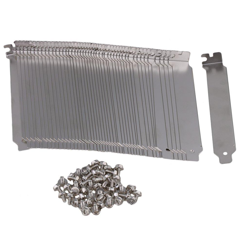Yibuy 50PCS PC Anti Dust Bracket Ruffled PCI Slot Cover w/Screw Stainless Steel